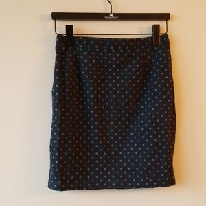 GAP   Dark Blue Skirt with Green mini polka dots